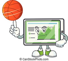 With basketball up chart horizontal table for report. vector...