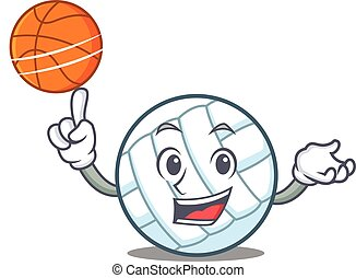 With basketball volley ball character cartoon