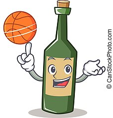 With basketball wine bottle character cartoon