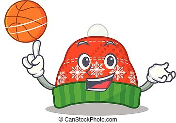 With basketball winter hat isolated in the character vector...