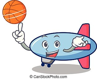 With basketball zeppelin character cartoon style