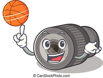 With basketball zoom lens mascot isolated with character...