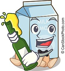 With beer almond milk in the cartoon shape