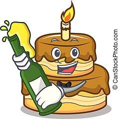 With beer birthday cake mascot cartoon