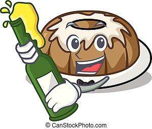 With beer bundt cake mascot cartoon
