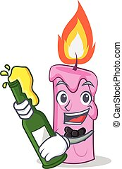 With beer candle character cartoon style vector illustration