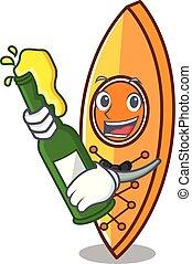 With beer canoe mascot cartoon style