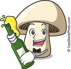 With Heart Champignon Mushroom Mascot Cartoon Vector