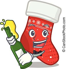With beer christmas stocking character in a bag