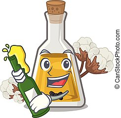 With beer cottonseed oil at the cartoon table vector ...