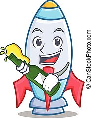 With beer cute rocket character cartoon