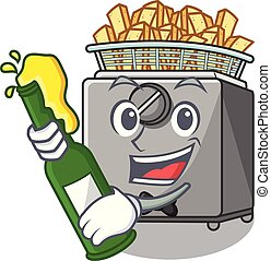 With beer deep fryer machine isolated on mascot vector...