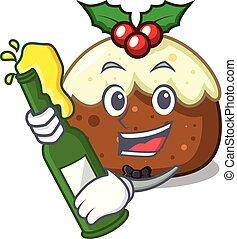 With beer fruit cake mascot cartoon