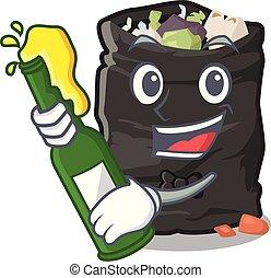 With beer garbage bag behind the character door vector illustration