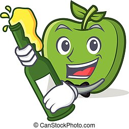 With beer green apple character cartoon