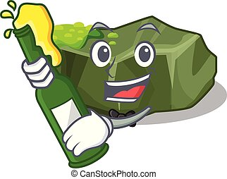 With beer green rock moss isolated on cartoon vector...