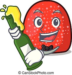 With beer gumdrop mascot cartoon style vector illustration