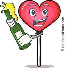With beer heart lollipop mascot cartoon vector illustration