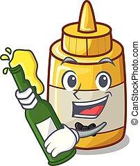 With beer homemade mustard sauce in cartoon bottle