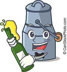 With beer milk can mascot cartoon