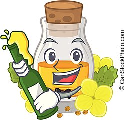 With beer mustard oil in the cartoon shape vector ...