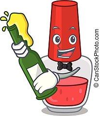 With beer nail polish mascot cartoon