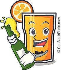 With beer orange juice mascot cartoon