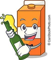 With beer package juice mascot cartoon