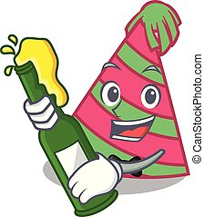 With beer party hat mascot cartoon vector illustration