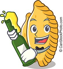 With beer pastel mascot cartoon style vector illustration