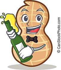 With beer peanut character cartoon style