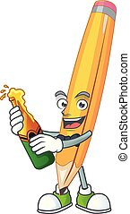 With beer pencil isolated on a white background.