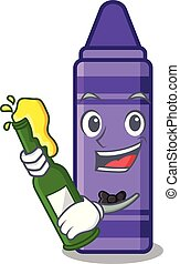 With beer purple crayon in a mascot bag
