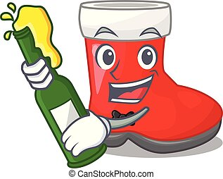 With beer santa boots in shape a cartoon