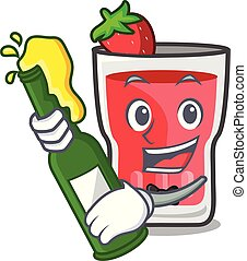 With beer strawberry mojito mascot cartoon