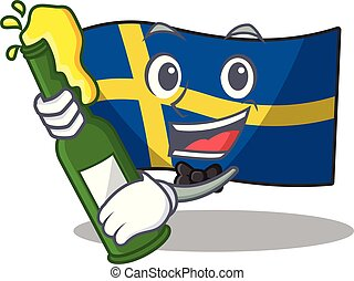 With beer swede flags flutter on character pole vector ...