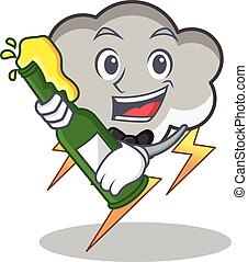 With beer thunder cloud character cartoon
