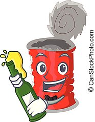 With beer tincan ribbed metal character a canned vector...