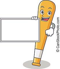 With board baseball bat character cartoon