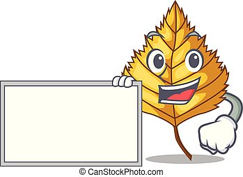 With board birch leaf in the mascot shape vector...