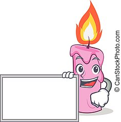 With board candle character cartoon style vector...