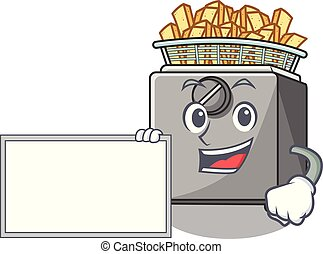With board cartoon deep fryer in the kitchen vector...