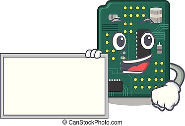 With board circuit board pcb isolated with mascot vector...