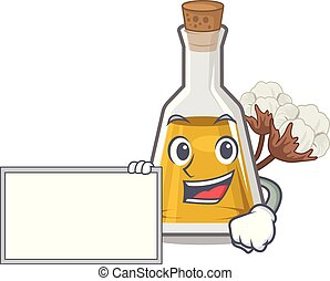 With board cottonseed oil in a mascot bottle vector ...