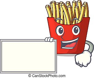 With board french fries above cartoon table wood
