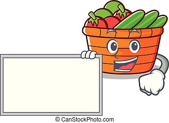 With board fruit basket character cartoon