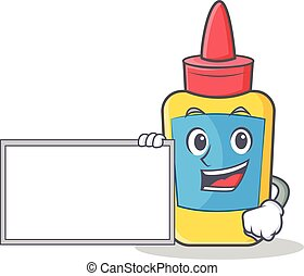 With board glue bottle character cartoon
