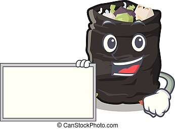 With board grabage bag isolated with the mascot vector illustration
