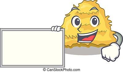 With board hay bale character cartoon vector illustration