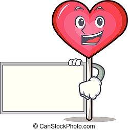 With board heart lollipop character cartoon vector ...